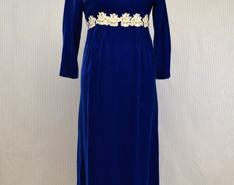 1970s Royal Blue Velve Maxi Dress with Lace