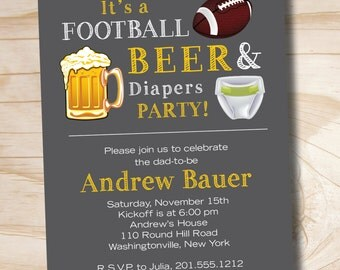 FOOTBALL BEER & Diapers bbq, beer and babies Diaper Party Invitation - Printable Digital file or Printed Invitations