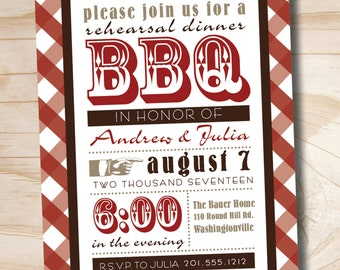 50 PRINTED WITH ENVELOPES Vintage Poster bbq Barbeque Engagement Rehearsal Dinner Party Invitation