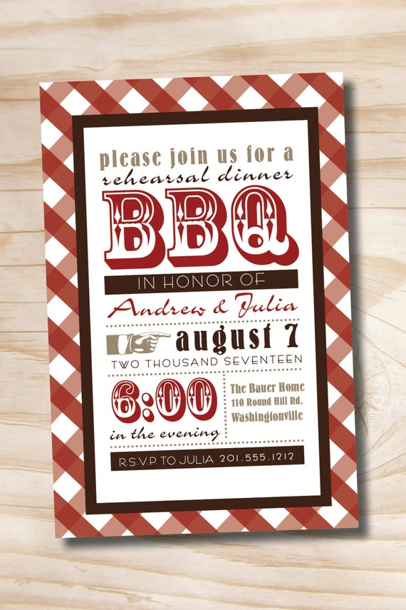 50 PRINTED WITH ENVELOPES Vintage Poster bbq Barbeque Engagement ...