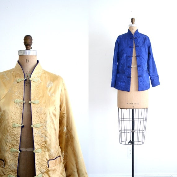 vintage Chinese jacket - chinoiserie / Satin Brocade- reversible / Bohemian Luxe