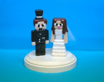Minecraft Character Wedding Cake Toppers - Custom Wedding Cake Topper - Wedding - Party - Cake - Keepsake