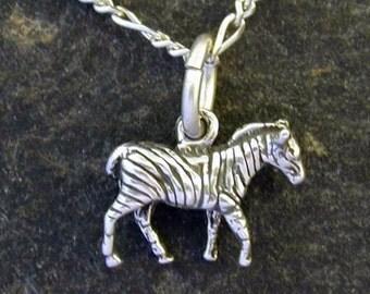 Sterling Silver Zebra Pendant on Sterling Silver Chain.