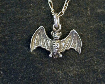 Sterling Silver Bat Pendant on a Sterling Silver Chain.