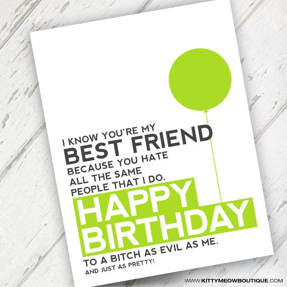 Funny & Rude Best Friend Birthday Card Lime By