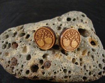 Wooden Earrings - Round Stud / Post Earrings w/ tree engraving - Cherry Wood - 14mm, natural earrings