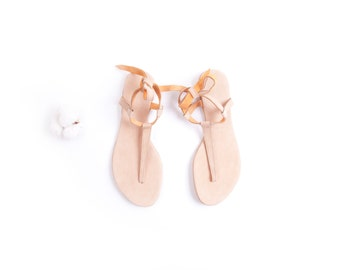 Minimal nude blush tie up Sandals | Up-cycled soft leather sandals | Nude | Ready to Ship | Last Pair 41