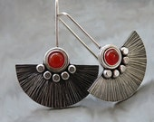 Sterling silver fan earrings with carnelian. Sterling silver drop earrings. Silver jewellery. Gemstone earrings. Handmade.