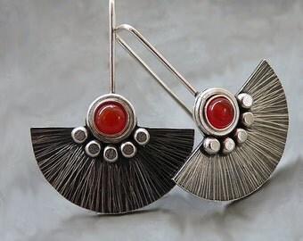 Sterling silver fan earrings with carnelian. Sterling silver drop earrings. Silver jewellery. Gemstone earrings. Handmade. MADE TO ORDER.