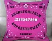 Ouija Board Hand Embroidered Magenta Pillow Victoriana Supernatural Cushion