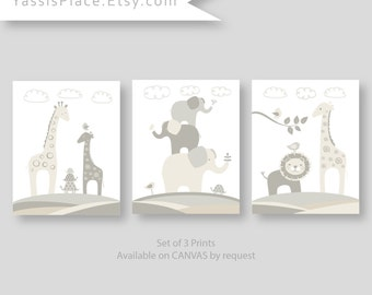 Nursery Decor in Off White, Gray and Beige Safari Animal Art Set of 3 prints, great baby shower gift for boy or girl, Nursery art 056