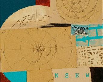 Orbits, mixed-media/acrylic on canvas, map art