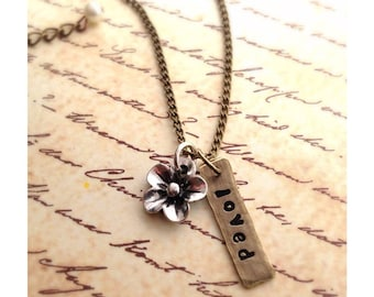 You Are Loved Hand Stamped Pendant With Silver Flower