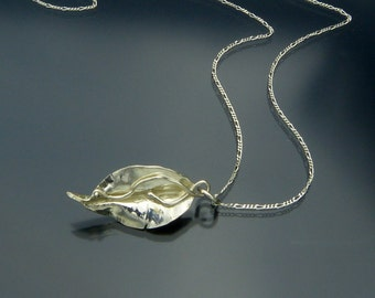 Art Nouveau Leaf Pendant - Tiny Sterling Silver Pendant - Handmade in USA by Me - Exclusive - FREE Shipping