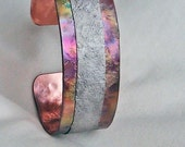Titanium and Copper Cuff Bracelet Stone Textured Hand Forged Rainbow Flame Patina OOAK