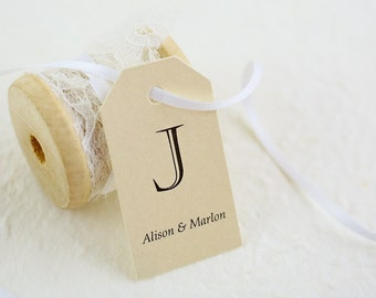 Wedding Favor Tags - Gift Tags, Thank You Tags, Monogram Tags, Elegant Favors, Personalized Favor Tags, Last Initial - Set of 25 (SMGT-CHV)