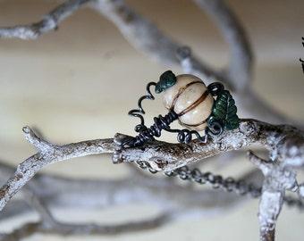 White Pumpkin Necklace - Ghost Pumpkin - Winter Pumpkin Necklace - Solstice