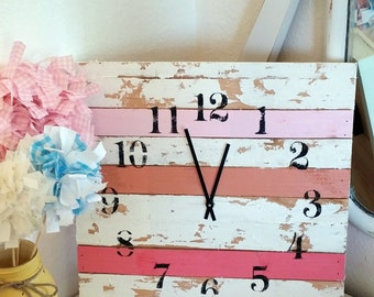 Shabby Chic Pink Clock 14x14 Girls Room Cottage Style Home Decor Aged Rustic Bedroom Wall Hanging Shower Birthday Christmas Gift