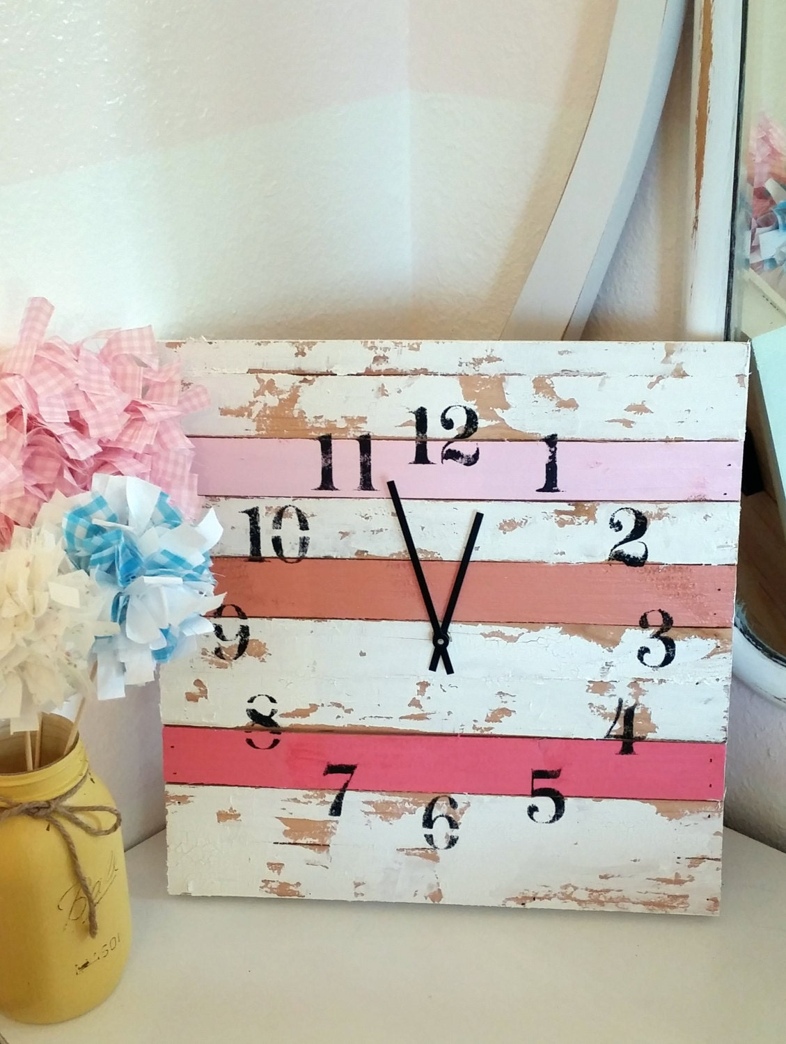 shabby chic pink clock 14x14 girls room cottage style home. Black Bedroom Furniture Sets. Home Design Ideas