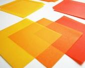 Translucent Origami Paper - 12 Sheets Medium 5 Inch Squares - Handmade Origami Paper - Yellow and Orange - Unique Origami