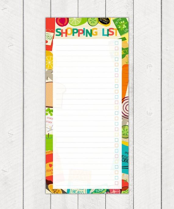 Calendar Illustration List : Printable shopping list planner pad food cooking illustrations