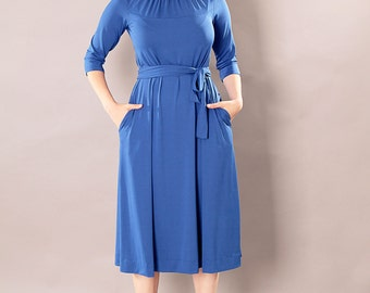 Blue midi dress,Modest dress,Formal dress,Bridesmaids dress,Tea length dress,Mid length dress,Party dress,Graduation dress,mormon dress