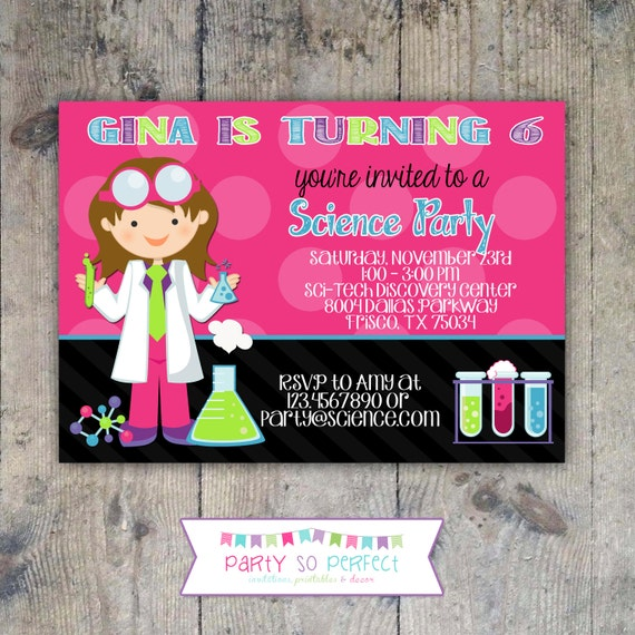 SCIENCE 5x7 Invitation - Girl Birthday Party - PRINTABLE