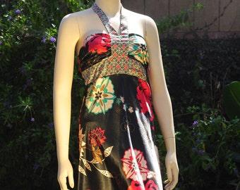 Kimono Dress, Papaya Dress, Halter Dress, Japanese Fabric Dress,  Womens Small Dress, X-Small Dress