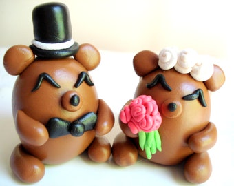 Wedding Cake Topper Bears Bride and Groom Keepsake Wedding Decor Wedding Topper Cake Decoration Anniversary Cake Topper