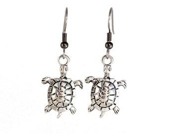 Sea Turtle Earrings - Silver - Turtle Earrings - Dangle