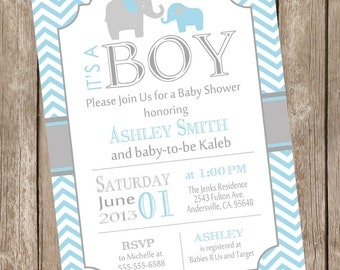 Blue and Grey Baby Shower Invitation Elephant Gray and Blue Chevron printable invitation