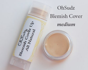 MEDIUM BLEMISH COVERUP Concealer Makeup Cover Sticks - All Natural - Medium to Heavy Coverage