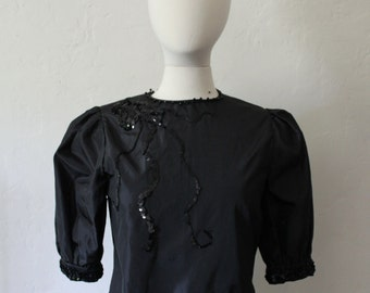 Nights at the Circus - Puff Sleeve Taffeta Blouse with Sequin and Bead decoration - Size 6