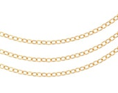 14Kt Gold Filled 2.5x2mm Flat Cable Chain - 5ft Strong and Sturdy (2466-5)/1