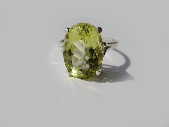 Lemon Quartz In Sterling Silver Cocktail Ring 5.97ct, Size 7, 8