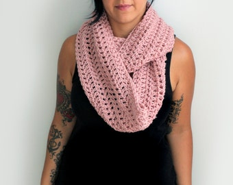 Rose Pink Hand Crochet Fashion Infinity Scarf, Fall Fashion Accessories