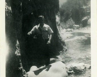 "Vintage Photo ""Mystery Hiker of the Third Tuesday"" Snapshot Antique Photo Old Black & White Photograph Found Paper Ephemera Vernacular -142"