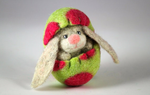 Needle Felted Easter Bunny in a Wool Felted Easter Egg. Handmade Miniature Easter Decoration