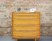 Mid Century Solid Maple Petite Tall Boy Dresser by Crawford Furniture - Danish Style - 50s 60s