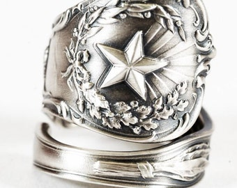 Texas Ring, Sterling Silver Spoon Ring, Texas Star Texas Love, Texas Longhorn Bull Handmade Jewelry, Eco Friendly, Adjustable Ring Size 5845