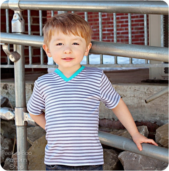 Play Date V-Neck Tee: V-Neck Tee Shirt Pattern, Boys Shirt Pattern, Girls Shirt Pattern, Baby Shirt Pattern