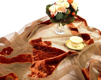 Discount 30% : Tablecloth brick red Velvet Appliqued on grey net wine Red modern table overlay luxury decoration gift for home Christmas