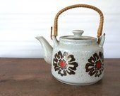 Vintage Japanese Teapot, Retro Ceramic Stoneware 1970s, orange and brown floral, speckled with lid and handle