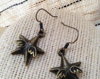 Winged Star Earrings