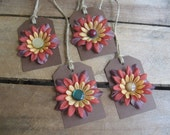 Fall Flower Gift Tags Set of FOUR Brown Gold Rust Fall Flower Gift Tags SnowNoseCrafts