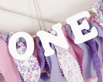 Sofia the First Birthday - Purple, Pink and White ONE Banner for Girl's Birthday Party - Rag Banner - Garland - Photography Prop