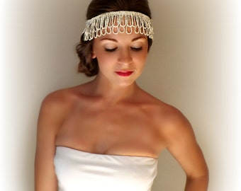 1920's 1930's Gatsby Style Rhinestone Flapper Head Piece Head Dress for Vintage Weddings Photo Shoot