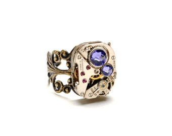 TANZANITE Steampunk Ring Steampunk Watch Ring DECEMBER Purple Lavender Antique Brass Ring Steam Punk Steampunk Jewelry VictorianCuriosities