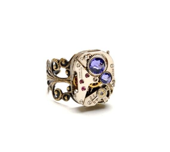 TANZANITE Steampunk Ring Steampunk Watch Ring DECEMBER Purple Lavender Antique Brass Ring Steam Punk Steampunk Jewelry VictorianCuriosities