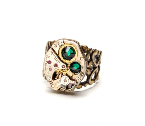 Steam Punk Ring Steampunk Ring Steampunk Vintage Watch Ring Emerald Skull Rectangular Industrial Steam Punk Jewelry By Victorian Curiosities